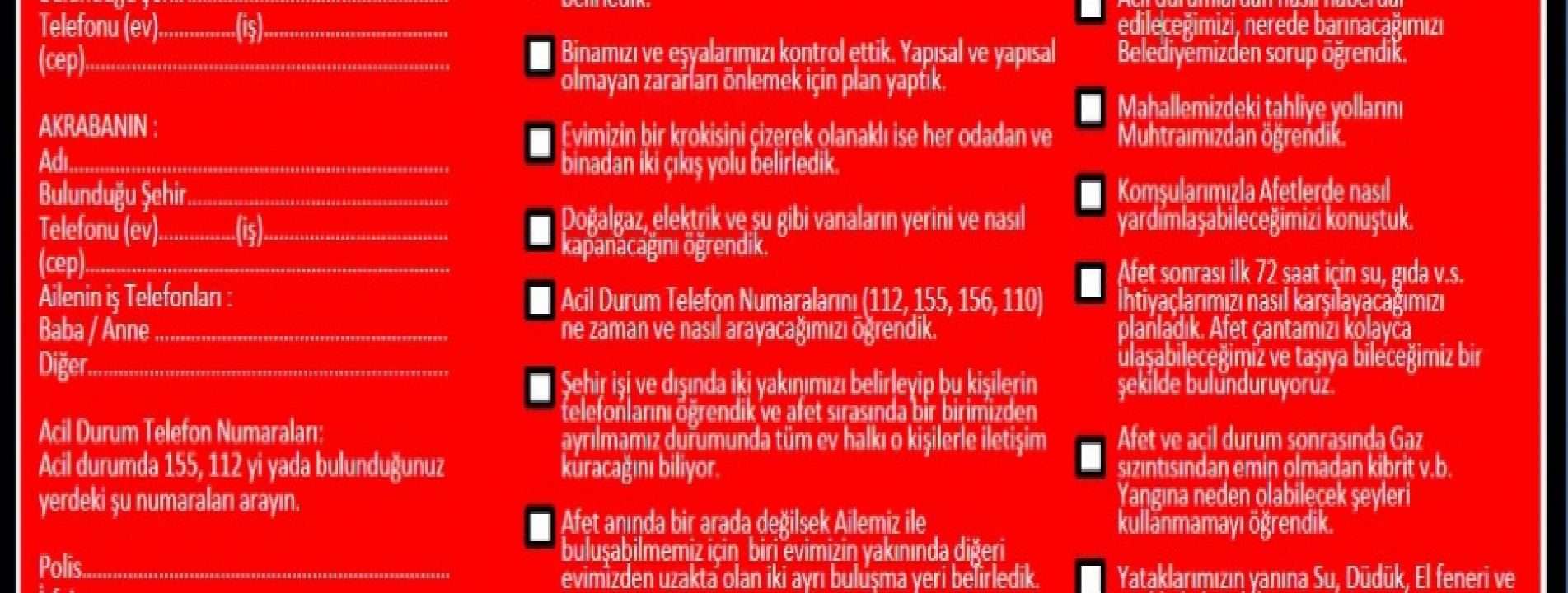 AİLE AFET PLANI